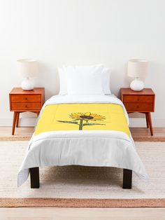 """""""Aesthetic Sunflower"""" Comforter by clothingproject College Bowl Games, Pomona College, Cute Blankets, College Organization, College Dorm Rooms, Square Quilt, Floor Pillows"""