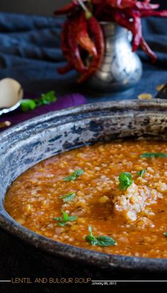 Lentil and bulgur soup with driend mint and chili 1