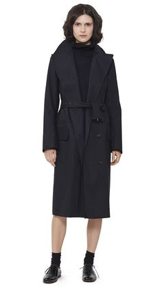 WOMEN AUTUMN WINTER 15 - Black proofed cotton Long DB Mackintosh, black wool/alpaca Roll Neck Dress MHL, black patent leather Slim Lace Up
