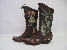 VINTAGE BEAUTIFUL HAND PAINTED  LACE UP LEATHER WOMEN'S BOOT VERY RARE SZ 8 M #DanPost #FashionKneeHigh