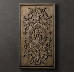 Hand-Carved Rococo Wood Panel Natural | 21 x 38 | Restoration Hardware | 399.00
