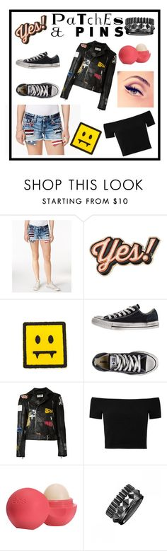 """Patches and pins"" by angela-ela ❤ liked on Polyvore featuring Miss Me, Anya Hindmarch, Converse, Yves Saint Laurent, Alice + Olivia, Eos, Waterford and patchesandpins"