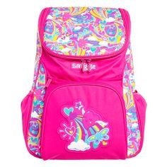 Snazzy rainbow pink backpack from Smiggle.