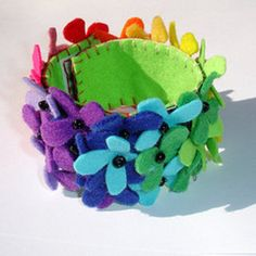 Rainbow Felt Flowers Cuff Bracelet from Folksy