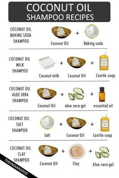 Use coconut oil for shiny and healthy hair! See all the simple DIY shampoos you can make at home!