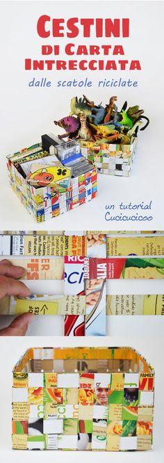 Crea cestini di carta intrecciata con le scatole dei cereali! Tutorial di riciclo creativo di www.cucicucicoo.com Coloratissimi!