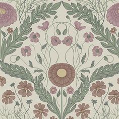 Artistically rendered florals shape a very unique, modern take on damask design. Set against a soft grey background, red and pink flowers serve as ornamentation around a leaf border. Marguerite is an unpasted, non woven wallpaper. Star Wallpaper, Damask Wallpaper, Embossed Wallpaper, Wallpaper Samples, Wall Wallpaper, Leaf Border, Pip Studio, High Quality Wallpapers, Fabric Textures