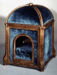 "A niche de chien for the the Queen's dog to keep snug and warm on a cold rainy day. It was made by Claude Sené. - from Marie Antoinette's village, ""the Hameau"", near Petit Trianon #doghouse #kennel #chenil #interiordesign - More wonders at www.francescocatalano.it"