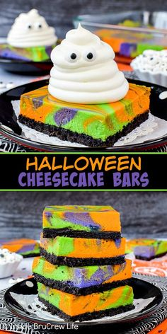 Halloween Swirled Cheesecake Bars - bright colorful swirled cheesecake bars with a spooky whipped cream ghost will get smiles from everyone. Try this easy recipe for Halloween parties. Halloween Cupcakes, Halloween Snacks, Halloween Torte, Pasteles Halloween, Dessert Halloween, Hallowen Food, Creepy Halloween Decorations, Spooky Halloween, Halloween Party Decor