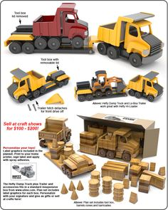 Scroll Saw Magic Hefty Dump Truck and Lo-Boy Trailer Wood Toy Plan Set