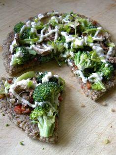 Broccoli-Mushroom Pizza with Red Bell Pepper Pesto Marinara, Monsterella Cheese Sauce & Cauliflower-Focaccia Pizza Dough