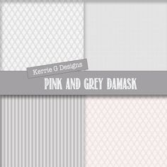 Instant Download Digital Papers Pink and Grey Damask patterns with coordinating stripes and polka dots flowers Use for website backgrounds, scrapbook pages, cards, invitations, backgrounds for monograms and other personalised products. 12 papers each measuring 12x 12 inch 300 dpi, thats 3600 pixels. These can be used for personal and commercial use. Feel free to use these to create products to sell either online or in person. You can even incorporate them into your own...