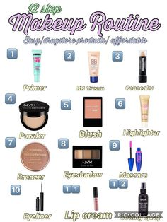 These Skin Care Tips Will Make Your Skin Happy An Easy/Affordable Makeup routine Makeup Brush Uses, Makeup 101, Makeup Guide, Cute Makeup, Skin Makeup, Basic Makeup Kit, Beauty Makeup, Makeup Basics, Simple Makeup Tips