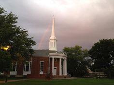 Rainbow over Dunning Memorial Chapel, Alma College, Alma, MI, Photo by Willard Korson