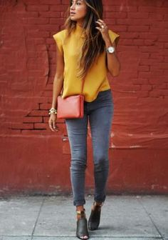 Learn what to wear with stylish grey jeans to create different outfits for your life, from casual weekends to the office and dressed up occasions.: Date Outfit - Wear Grey Jeans With a Yellow Top