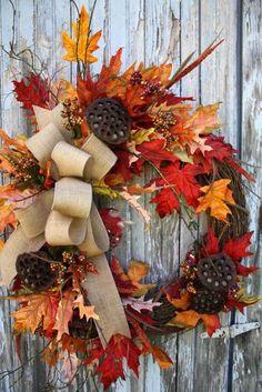 Beautiful Fall Wreath - A Interior Design Wreath Crafts, Diy Wreath, Door Wreaths, Wreath Ideas, Grapevine Wreath, Burlap Wreath, Autumn Wreaths, Holiday Wreaths, Fall Crafts