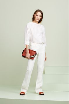 Casual all-white outfit. Liking the square top. | Theory; Spring 2015 RTW
