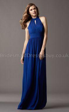A-line Sleeveless Halter Royal Blue Chiffon Long Bridesmaid Dresses(UKBD03-766)