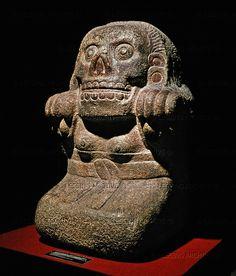 AZTEC SCULPTURE 14TH CENTURY Tlatecuhile,Lord of the Earth. Limestone. Museo Nacional de Antropologia, Mexico City, Mexico