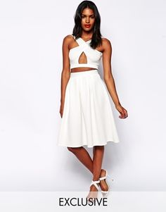 Enlarge Oh My Love Midi Skater Skirt with Pleats