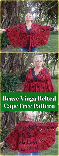 Crochet Brave Vinga Belted Cape Free Pattern- Crochet Women Capes & Poncho Patterns