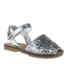 This Silver Peep-Toe Sandal - Girls by RUUM is perfect! #zulilyfinds