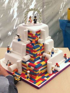 LEGO-Themed Wedding Cake - everything is awesome!  Including this cake.