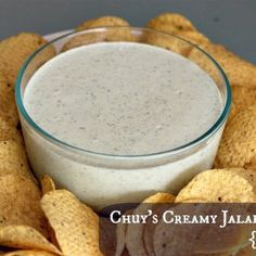 """Copycat Chuy's Creamy Jalapeño Dip Recipe: """"Tastes just like Chuy's dip!! This one is thicker & creamier. Tastes even better the next day!! I did use light sour cream, but I used regular mayo. Next time I will try it with light mayo."""""""