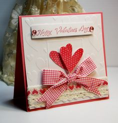 Handmade Card - Greeting Card - Happy Valentine's Day -  Love  - Valentines - Anniversary - Stampin Up - OOAK. $3.95, via Etsy.