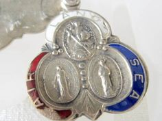 Vintage Catholic Silver and Enamel Soldier's Medal Pendant