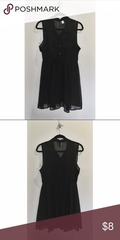 H&M Black Button-Up Shirt Dress button front bodice with collar | sheer back, wear with or without a black under tank | elastic waist for easy fit | gathered skirt for extra fullness and a flirty look | wear alone or over leggings H&M Dresses Mini
