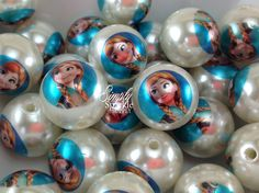 Anna Frozen Inspired Double print beads NEW! chunky necklace beads 20mm big bubblegum beads