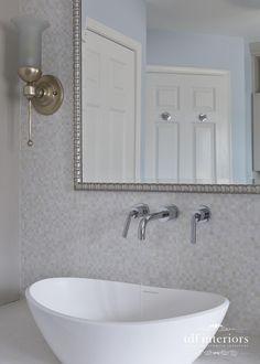 Luxurious and Tranquil Contemporary Bathroom design on Chicago North Shore Contemporary Bathroom Designs, Contemporary Style, Standing Shower, Residential Interior Design, North Shore, Master Bathroom, Custom Design, Chicago, Vanity