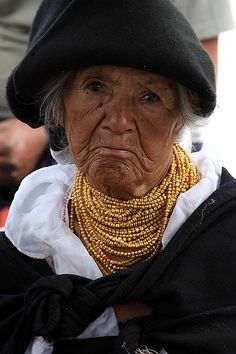Ecuador,  We saw a lot of these woman while at the open market.  The gold chains represent their income.  The more chains, the more income.