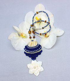 #blue #knotted #boho #macrame #necklace Boho / Hippie BLUE KNOTTED MACRAME Necklace by Birbyzossleptuve