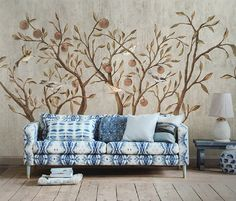 Flying Birds in Plum Trees Wallpaper Painting Wall by DreamyWall