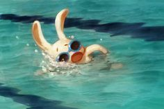 I did this painting last year for my dad to cheer him on for a swimming competition. He had just turned and was born in the year of the Rabbit. Children's Book Illustration, Character Illustration, Illustration Styles, Swimming Posters, Art Mignon, Kawaii, Animation Reference, Character Creation, Cartoon Styles