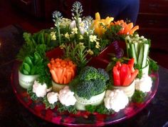 This beautiful vegetable tray is healthy and delicious.  See more vegetable appetizer and party ideas at one-stop-party-ideas.com