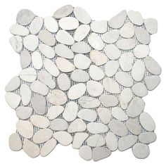 Sliced White Pebble Tile - Subway Tile Outlet shower floor
