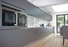Like the side opening oven doors German kitchen design in high gloss Anthracite
