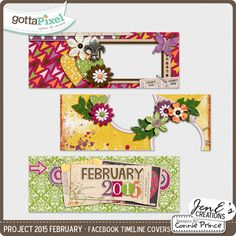 Project 2015 February - Facebook Timeline Covers  Project 2015 February - Facebook Timeline Covers by JenE, created using Project 2015 February by Connie Prince. Includes 3 Facebook Timeline Cover images, these are only suitable for web use not print.