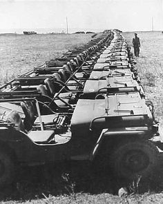 Jeeps lined up somewhere in Europe after the end of the war awaiting shipment to the Pacific Theater