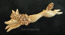 Vintage old retro FLORENZA signed unusual Gold rhinestone POODLE Dog PIN brooch