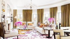 Pink and gold decor, tree trunk coffee table // hotel design, orchids/ gold silk