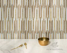 Fletcher waterjet mosaic in Ironwood ceramic, Gold glass, and Island Fog glass | The Altimetry collection for New Ravenna
