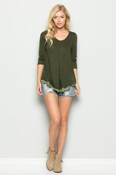 4bf8832929f23b Hacci ruffle hem top with sleeve in olive green. Made in USA