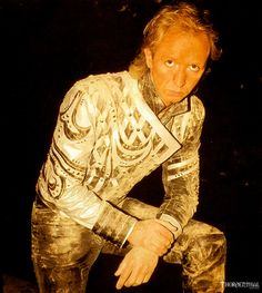 A dusty Rob Halford on set of the Locked In video.