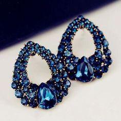 Blue Rhinestone Statement Earrings
