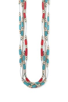 ZAD Turquoise & Red Silver Bead 4 Line Necklace, 15 usd  Love!