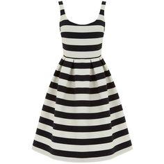 Warehouse Stripe Prom Dress, Black/White (1 825 UAH) ❤ liked on Polyvore featuring dresses, mini prom dresses, sleeve prom dresses, floor length prom dresses, striped midi dress and prom dresses